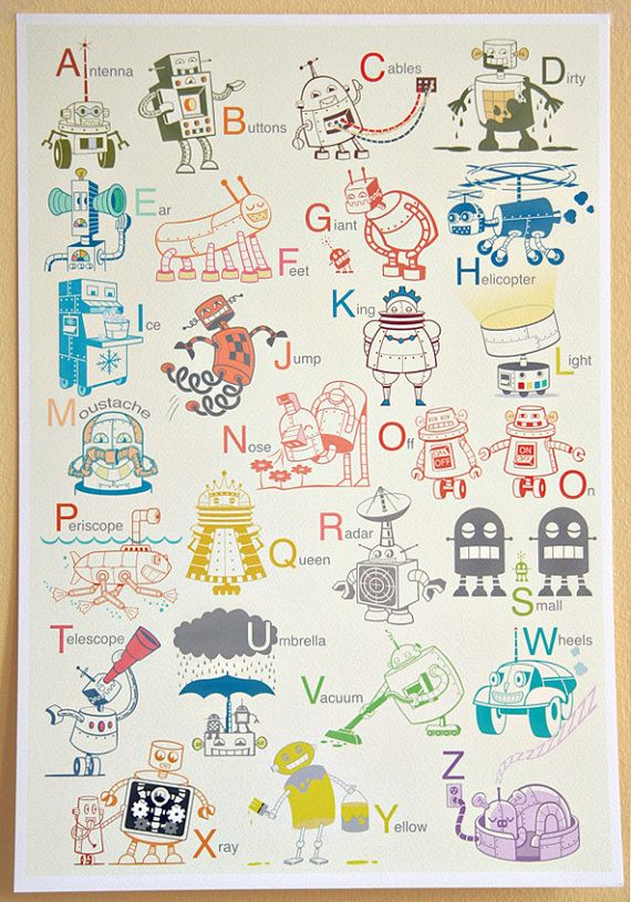 Large Robot Alphabet Art Print - Alphabet print, baby nursery, nursery decor, nursery wall art, kids art, robot art, large art print