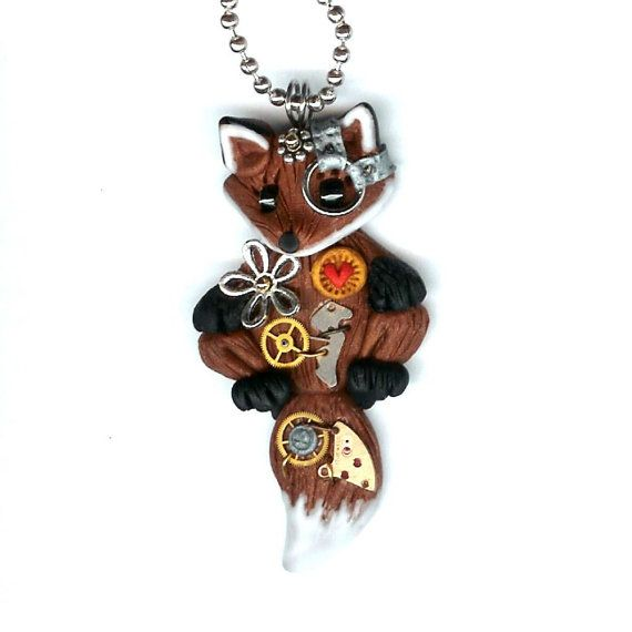 LOVE LOVE LOVE!!! Steampunk Red Fox Necklace Polymer Clay Jewelry by Freeheart1, $28.00