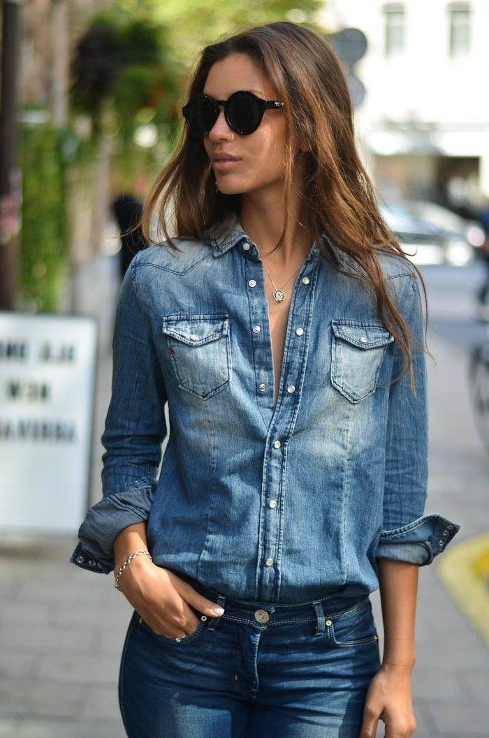 Best 25+ Chemise jean femme ideas on Pinterest | Chemisier noir femme, Chaussures habillées blanches pour hommes and Jeans blanc pour hommes
