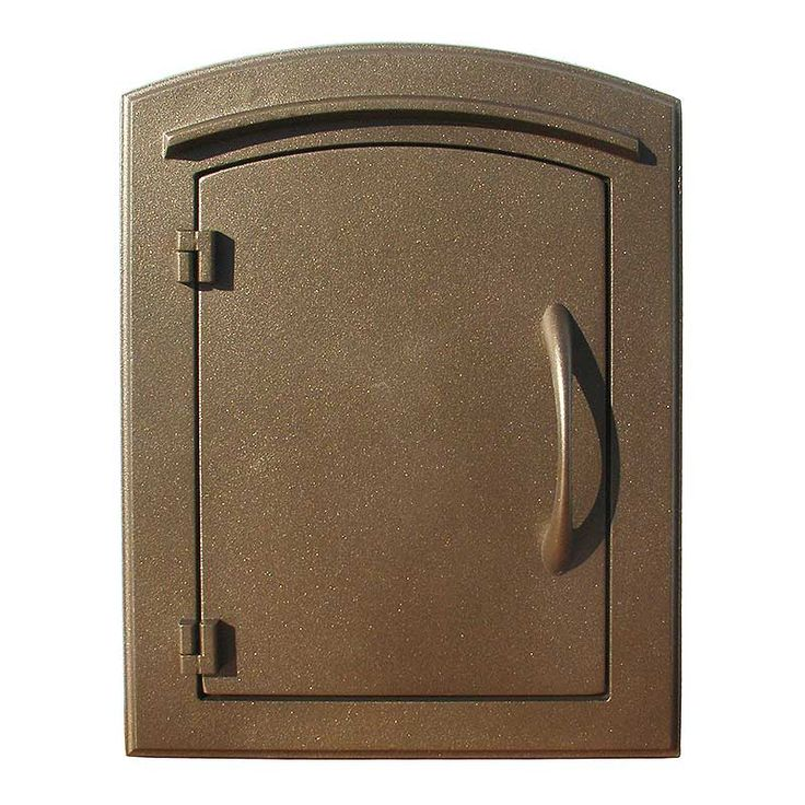 QualArc | Manchester Non-Locking Column Mount Mailbox with Plain Door in Bronze | Residential Mailbox