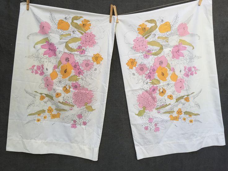 60's Burlington House Floral Pillowcases x2 Standard Size by ElkHugsVintage on Etsy