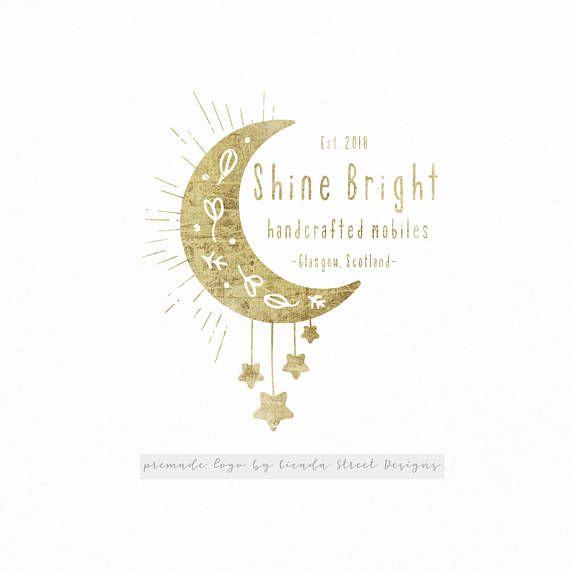 Moon Logo-Star Logo-Premade Logo-Gold Logo-Modern