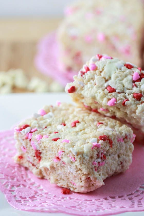 White Chocolate Valentine's Krispie Treats