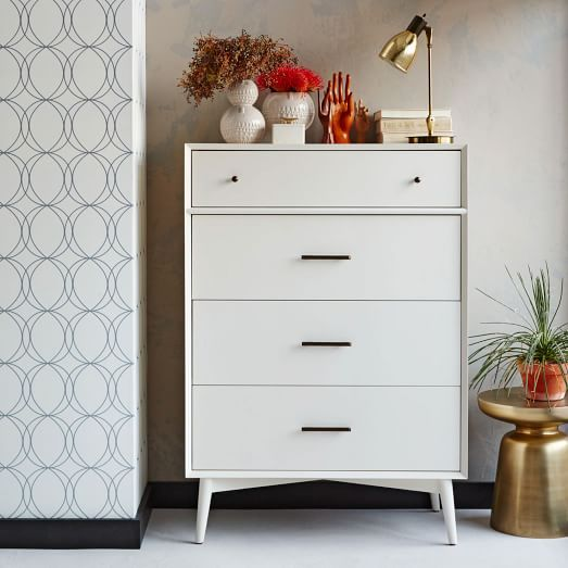 Mid-Century 4 Drawer Dresser, White