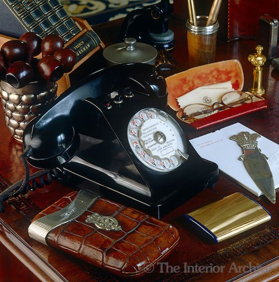 Treasures on the Duke of Windsor's antique mahogany desk - itself a relic of Fort Belvedere, his house in England. This is SO Awesome!!!