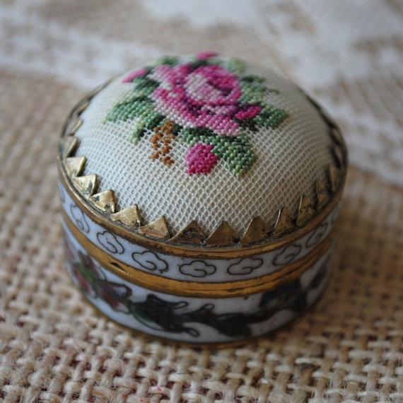 Vintage Petit Point Rose Pill Box