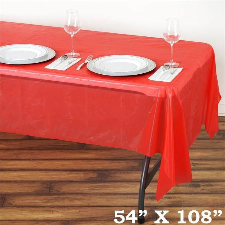 """Spotless Elegance 54x108"""" Disposable Plastic Table Cover - Red"""