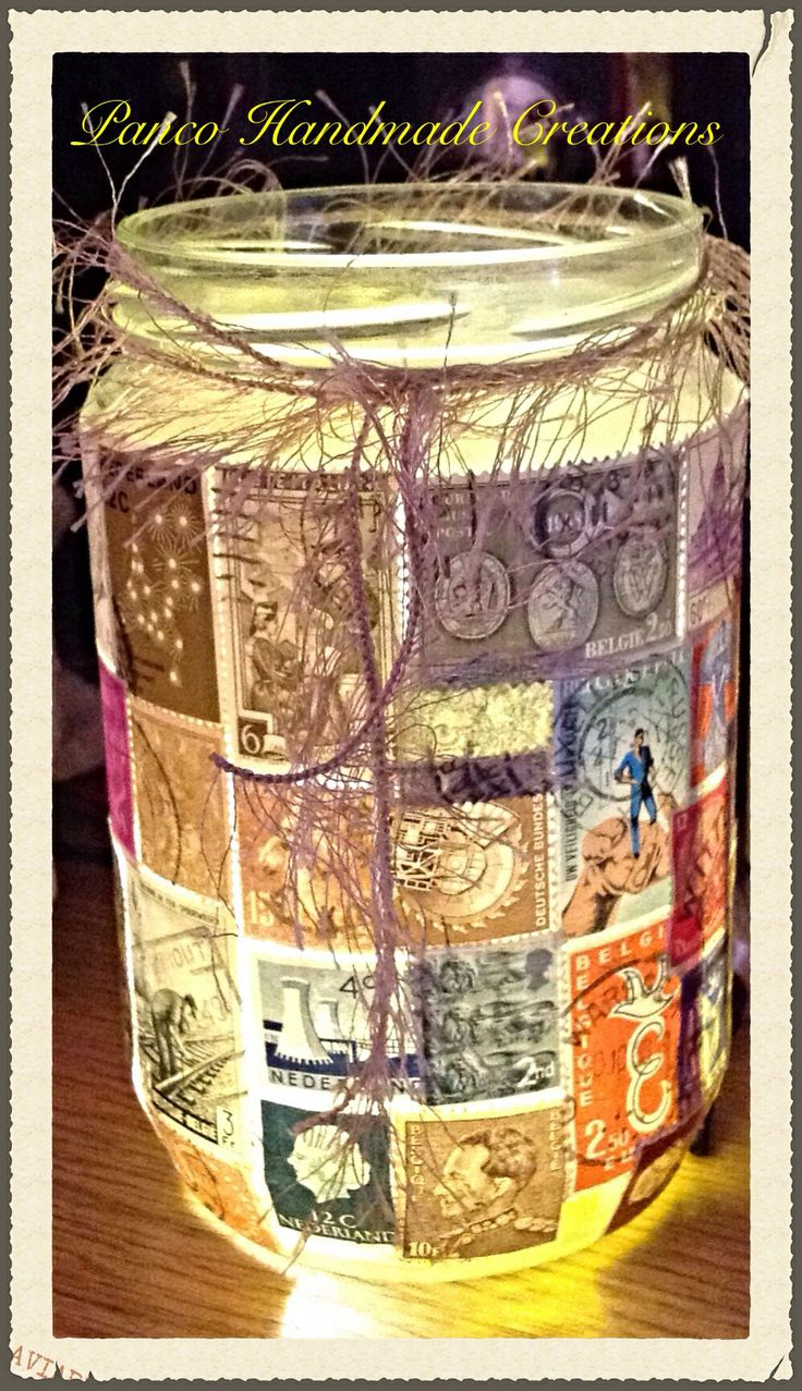 Mason jar made of stamps!!!! I love it