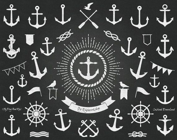 #Chalkboard #Anchor #Clipart Clip Art - Chalkboard Anchor, digital set contains a collection images of chalkboard anchor  This nautical clip art set contains 45 different anch... #etsy #digiworkshop #scrapbooking #illustration #creative #printables #cardmaking #nautical #digital #anchors