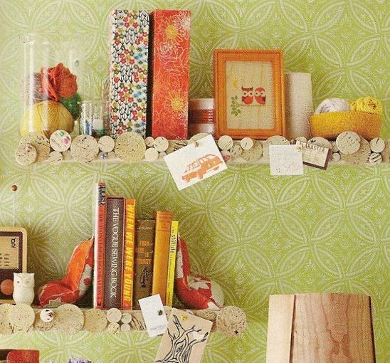 Use cork tiles to make boring ikea shelves into a clever tack board.
