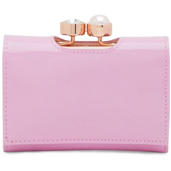 Ted Baker Alix Pearl Bobble Small Leather Purse (19 KWD) ❤ liked on Polyvore featuring bags, wallets, sale bags & luggage purses, ted baker, flap wallet, leather wallets, ted baker wallet and leather snap wallet