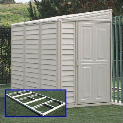 SideMate Vinyl Lean-To Shed by Duramax Building Products. $599.99. 00614 Features: -Plywood floor not included but can easily be laid in after shed is built.-Customizable design allows door to be built on either side of the unit so it can be either left or right leaning.-Galvanized metal foundation.-All-weather durable vinyl eliminates painting, treating or maintenance.-Contemporary design in sandy beige will beautify your yard or garden.-Wall height ideal for most communities.-M...