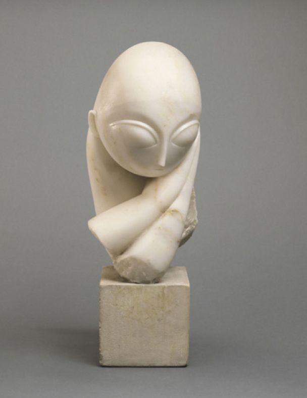 Constantin Brancusi ~ Portrait of Mademoiselle Pogany, 1912 (white marble, limestone block)