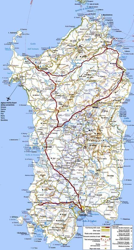 Mapa de Carreteras de Cerdeña