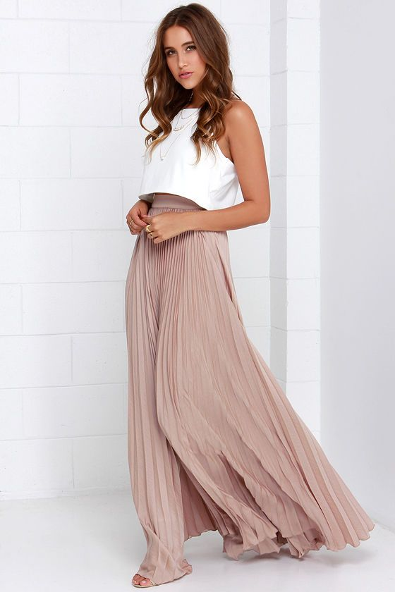 Pleated Blushed  Maxi Skirt