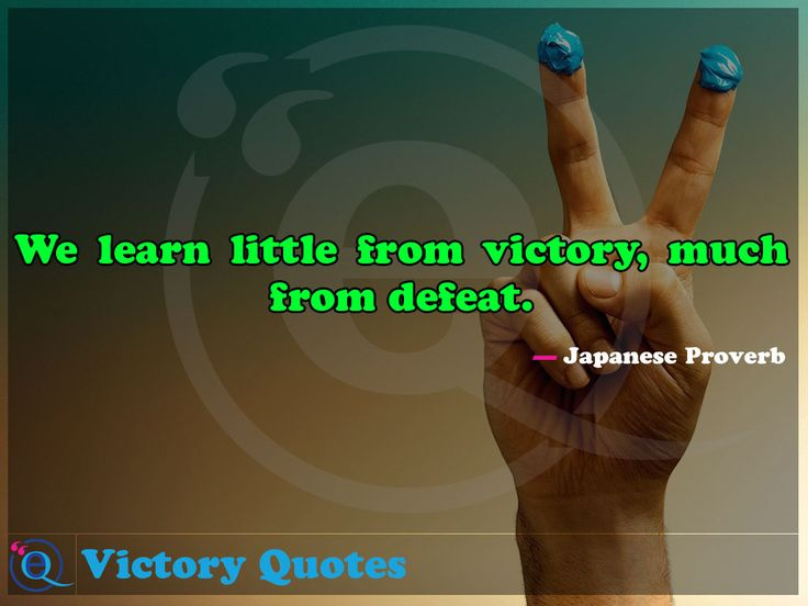 We learn little from victory, much from defeat. Victory Quotes 5