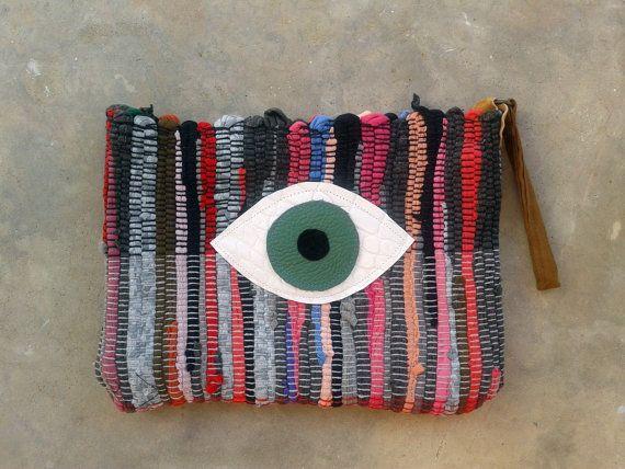 Ready to Ship Boho Bag, Fatima Eye Wristlet Purse - Boho Chic Evil Eye Small Fabric  Handbag - Green Eye