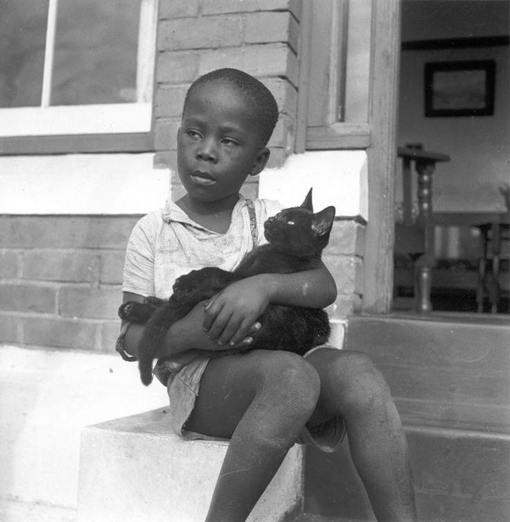 Boy with cat, 1949 - Photograph by Constance Stuart Larrabee: