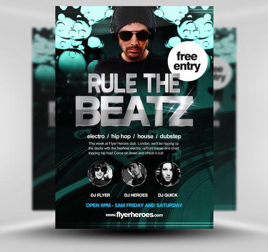Rule the Beatz Free Flyer Template  #PSD #Photoshop #Template #Free #FlyerHeroes