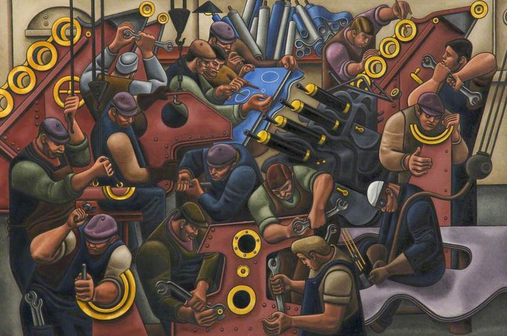 """William Patrick Roberts (1895-1980)  """"Munitions Factory"""", 1940s"""
