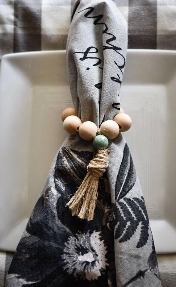 Farmhouse Style Napkin Rings - Wood Bead Napkin Rings - Wooden Napkin Rings - Turquoise