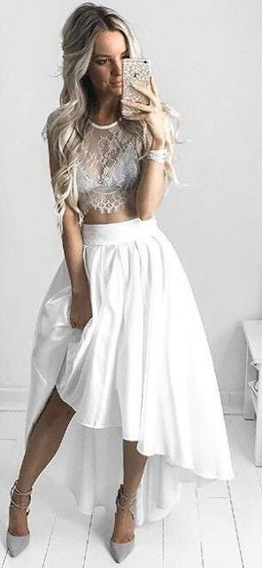 Grey Lace + White Skirt Source