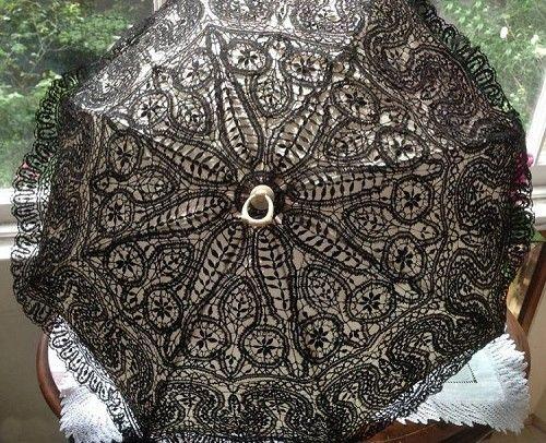 Precious Antique Victorian Handmade Black Silk Bedfordshire Lace Parasol