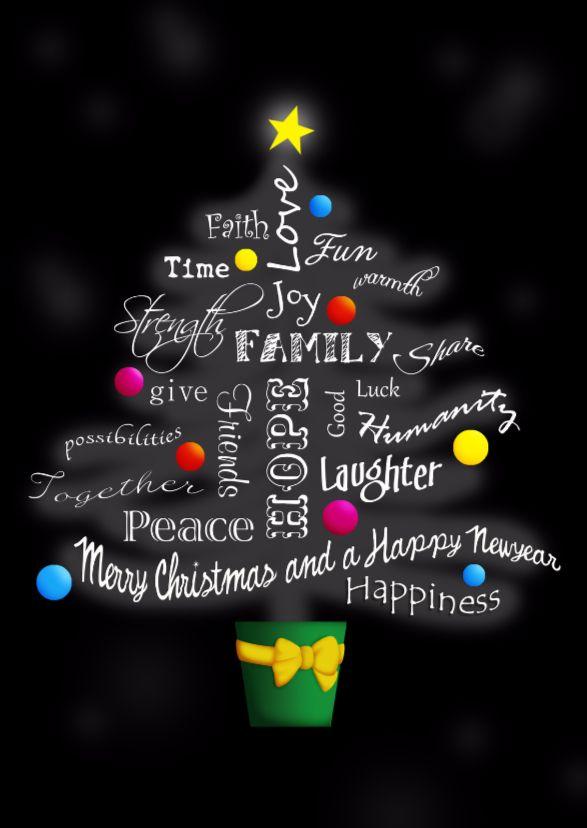 Stijlvolle kerstboom van engelse woorden m.b.t. Kerst & Nieuwjaar. Family, love, peace... Stuur als ansicht of dubbele kaart. Fijne feestdagen!