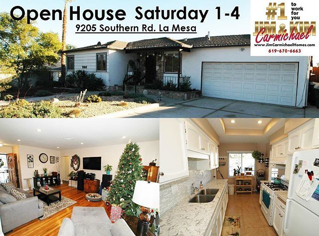 Happy Hump Day!! While you are out and about this weekend stop by our open house :) Single story 3 bedroom 2 bath 1,400 square foot home, situated in beautiful La Mesa with paid for solar. $599,000 - $619,000 Jim & Kim Carmichael 619-670-6663 - - #sandiegorealestate #sandiego #sdrealestate #sdhomes #eastcountyrealestate #eastcountysandiego #eastcountysd #home #house #homeforsale #houseforsale #seller #buyers #kellerwilliams #elcajon #elcajonrealestate #ranchosandiego #sandiegohomes…