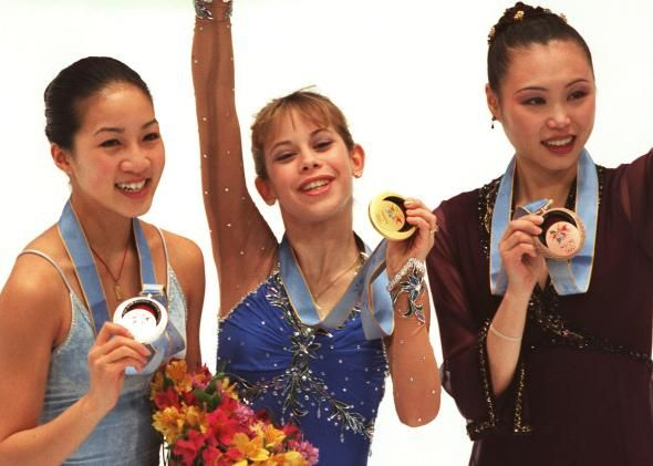 1998 Olympic podium women's figure skating:Silver- Michelle Kwan (USA), Gold-Tara Lipinski (USA), Bronze-Lu Chen (China)
