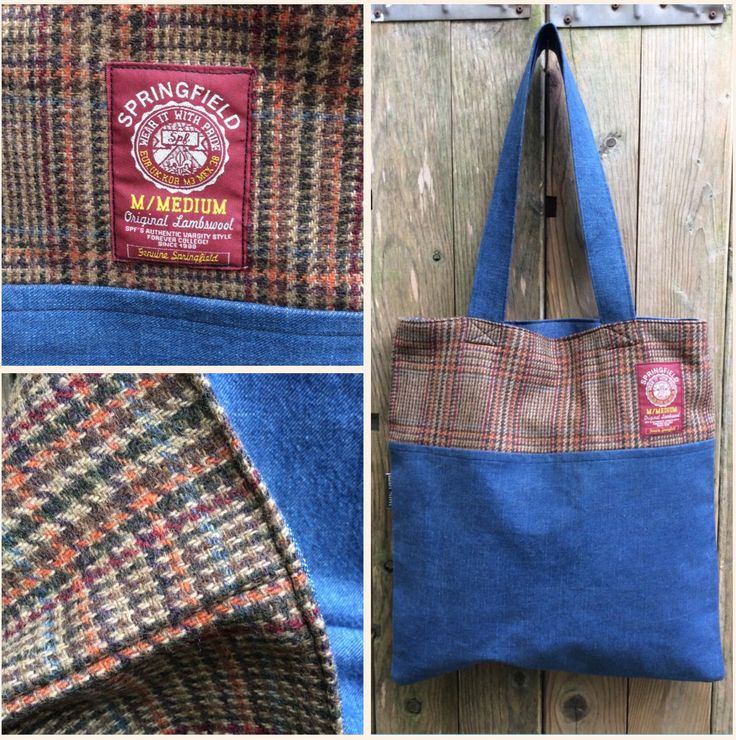 Lovely tweed and denim tote bags in the webshop. www.bakerstreethandmade.com