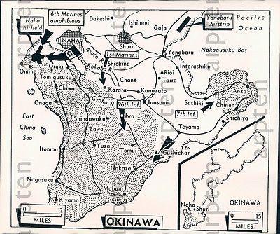 1945 Map US Marines Used To Capture Chinen Peninsula On Okinawa Press Photo