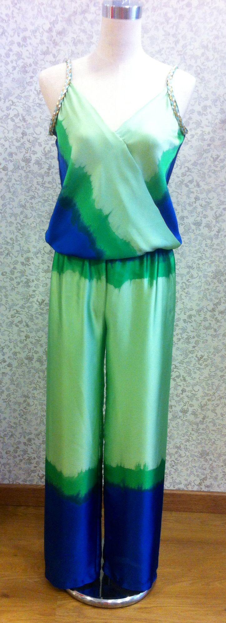 Mono de seda en verdes y azules