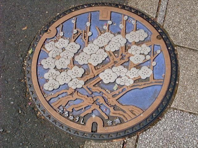 art design | street design | manhole cover | japan | cherry blossoms
