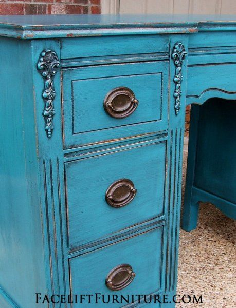 Antique vanity desk in distressed Peacock Blue and Black Glaze. Original  hardware. From Facelift - 67 Best Desks & Vanities Images On Pinterest Daughters