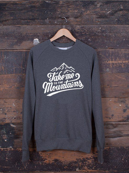 Take Me To The Mountains jumper – The Level Collective – hand screen-printed in Sheffield, UK onto our ethically made 100% Organic cotton jumpers