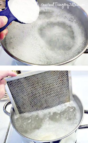 Do you want your greasy oven vent filter clean. It's simple. Use a BIG pot, fill it with water and bring to a boil. Add 1/2 cup of baking soda very slowly. Add a tablespoon of baking soda at a time, it fizzes up fast (Be careful) Take your filter and put it in the pot 1/2 of the filter at a time. Let air dry