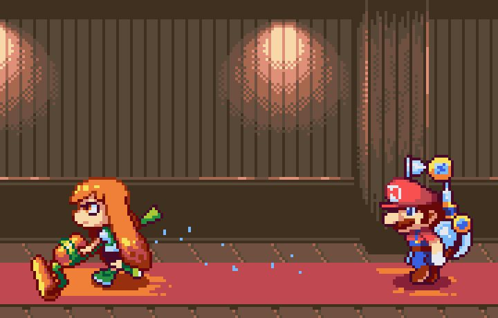 "pixelartus: "" Splatoon & Super Mario Sunshine Pixel Artist: vovovov Source: pixeljoint.com """