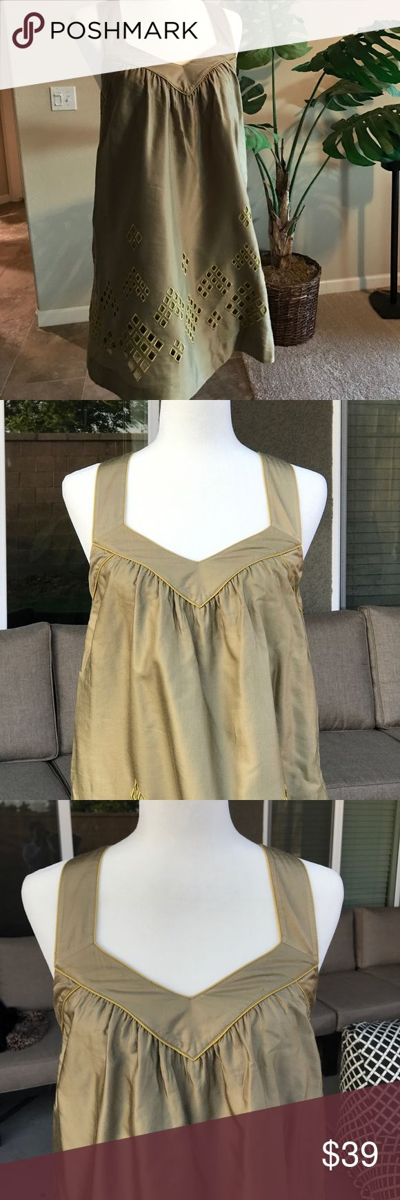 French Connection army green dress Army green dress with gold foam cutouts and a racer back. Pockets and fully lined. Worn only once! French Connection Dresses Mini