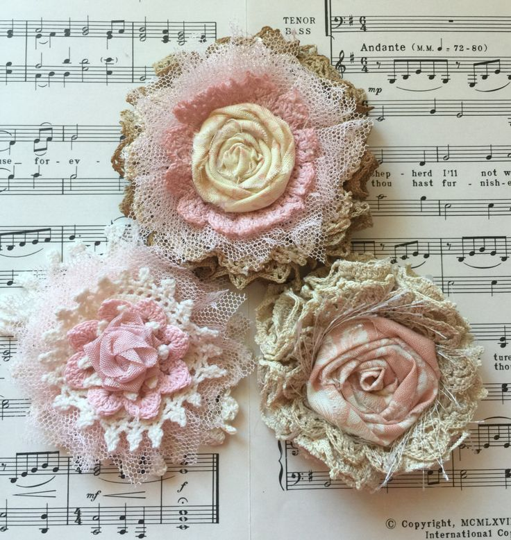 Shabby Chic Fabric Flower/Wedding decor/Cottage Chic Flowers/Rustic Wedding Flower/Vintage Flower/Bridal Hairpiece/Baby Girl Headband flower by ShabbyChicLoft on Etsy