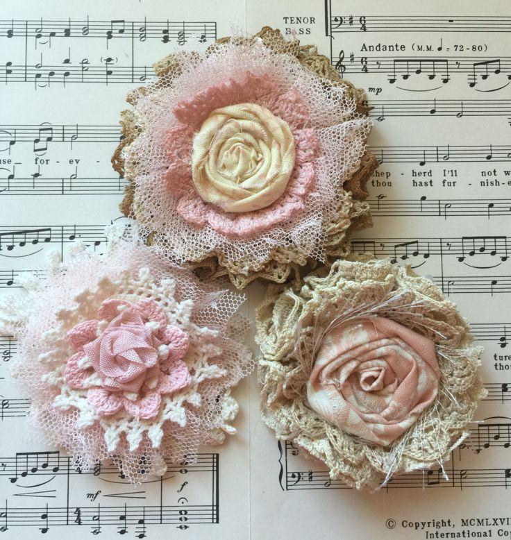 Shabby Chic Fabric Flower/Wedding decor/Cottage Chic Flowers/Rustic Wedding Flower/Vintage Flower/Bridal Hairpiece/Baby Girl Headband flower by ShabbyChicLoft on Etsy