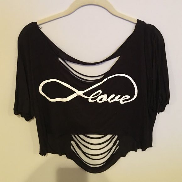 Infinity love half shirt Black infinity love half shirt, there is no size on the shirt, but I wore it when I wore mediums N/a Tops Crop Tops