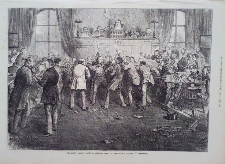 1873 PRINT MONEY MARKET PANIC IN AMERICA : SCENE AT SAN FRANCISCO STOCK EXCHANGE