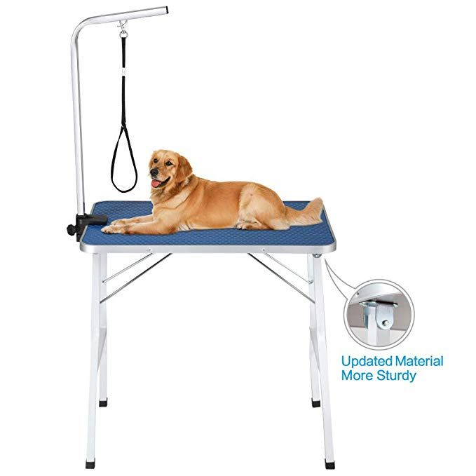 Itori Pet Dog Grooming Table Small Size Heavy Duty 32 Foldable Portable Drying Table With Adjustable Arm Clamp And Mes Dog Grooming Grooming Dog Teeth Cleaning