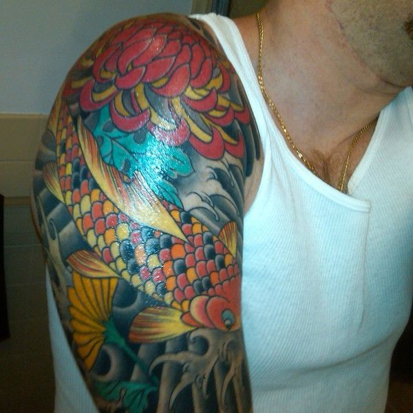 male shoulder tattoos color - Google Search