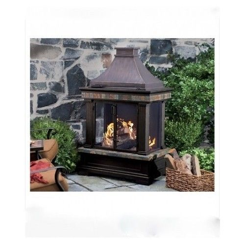 Outdoor Wood Fireplace RED SLATE TRIM FIRE PIT BOWL