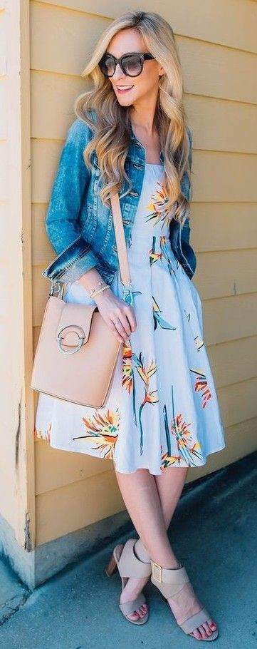 #street #style #fashion #fblogger #spring #outfitideas | Denim + Blue Floral Midi Dress | A Pinch Of Lovely