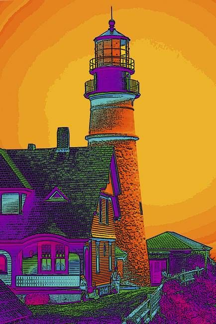 """""""Portland Headlight"""" by Susan Elizabeth Dalton: Digitally manipulated photograph of Portland Headlight, Portland, Maine // Buy prints, posters, canvas and framed wall art directly from thousands of independent working artists at Imagekind.com."""