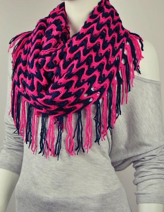 BUY 1 & GET 1 FREE  Fuchsia Navy Blue Knit Fabric by LIFEPARTNER, $17.95