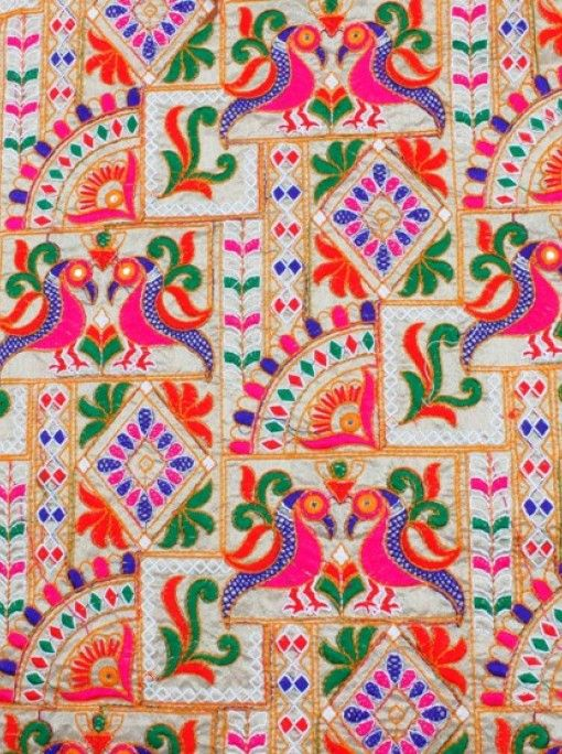 Appealing multicolored embroidery and mirror work mulmul cotton base fabric